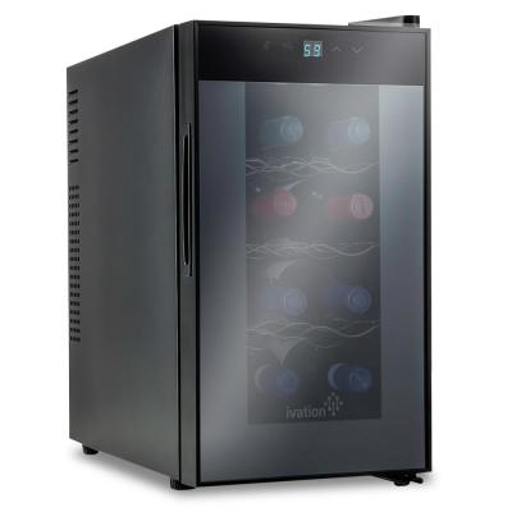 8 Bottle Thermoelectric Countertop Freestanding Wine Cooler Fridge Cellar Refrigerator - Vertical - Black