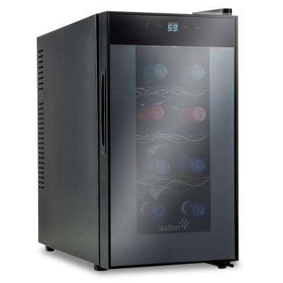 8 Bottle Thermoelectric Countertop Freestanding Wine Cooler Fridge Cellar Refrigerator - Vertical - Black