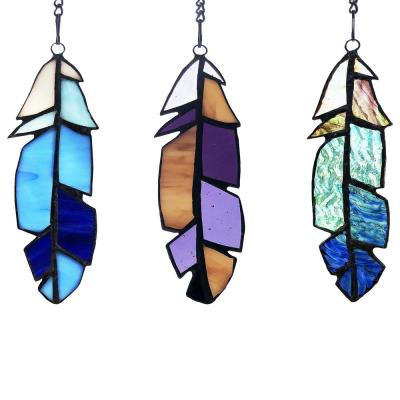 Multi-colored Set-of-3 Feather Stained Glass Window Panel