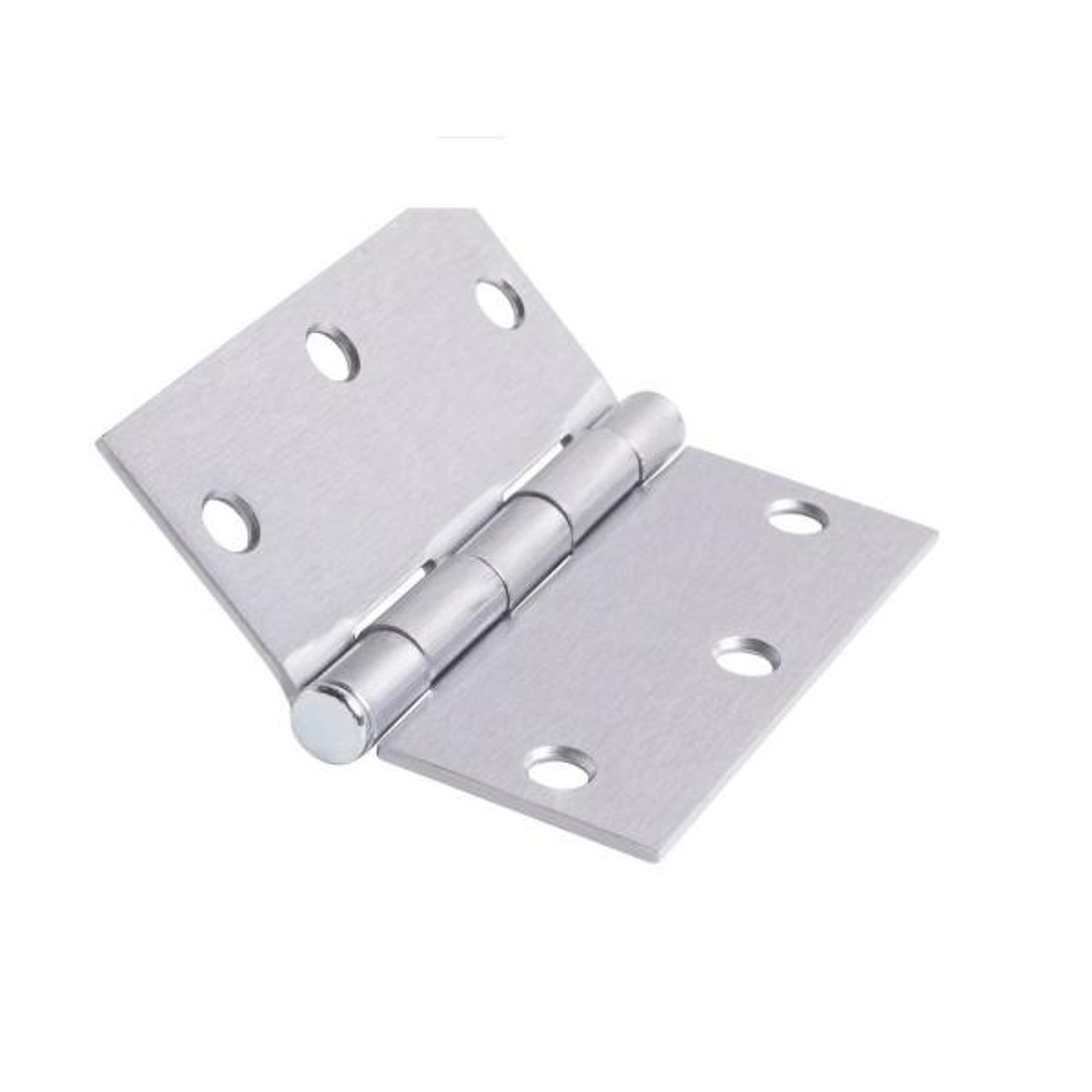 3.5 in. x 3.5 in. Brushed Chrome Plain Bearing Steel Hinge (Set of 2)