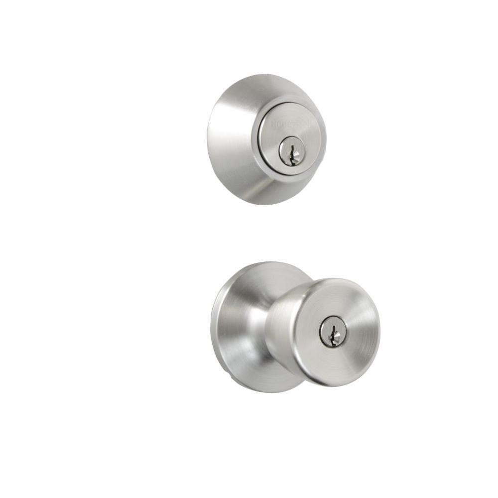 Honeywell Satin Nickel Tulip Knob Door Lock Home Security Kit
