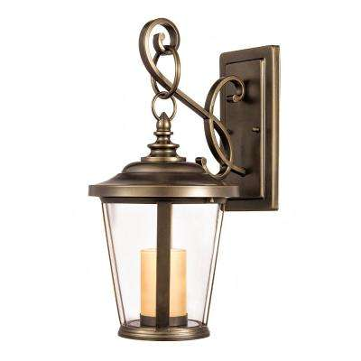 Bellingham Oil-Rubbed Bronze LED Medium Outdoor Wall Mount with Clear Glass and Amber Glass Candle
