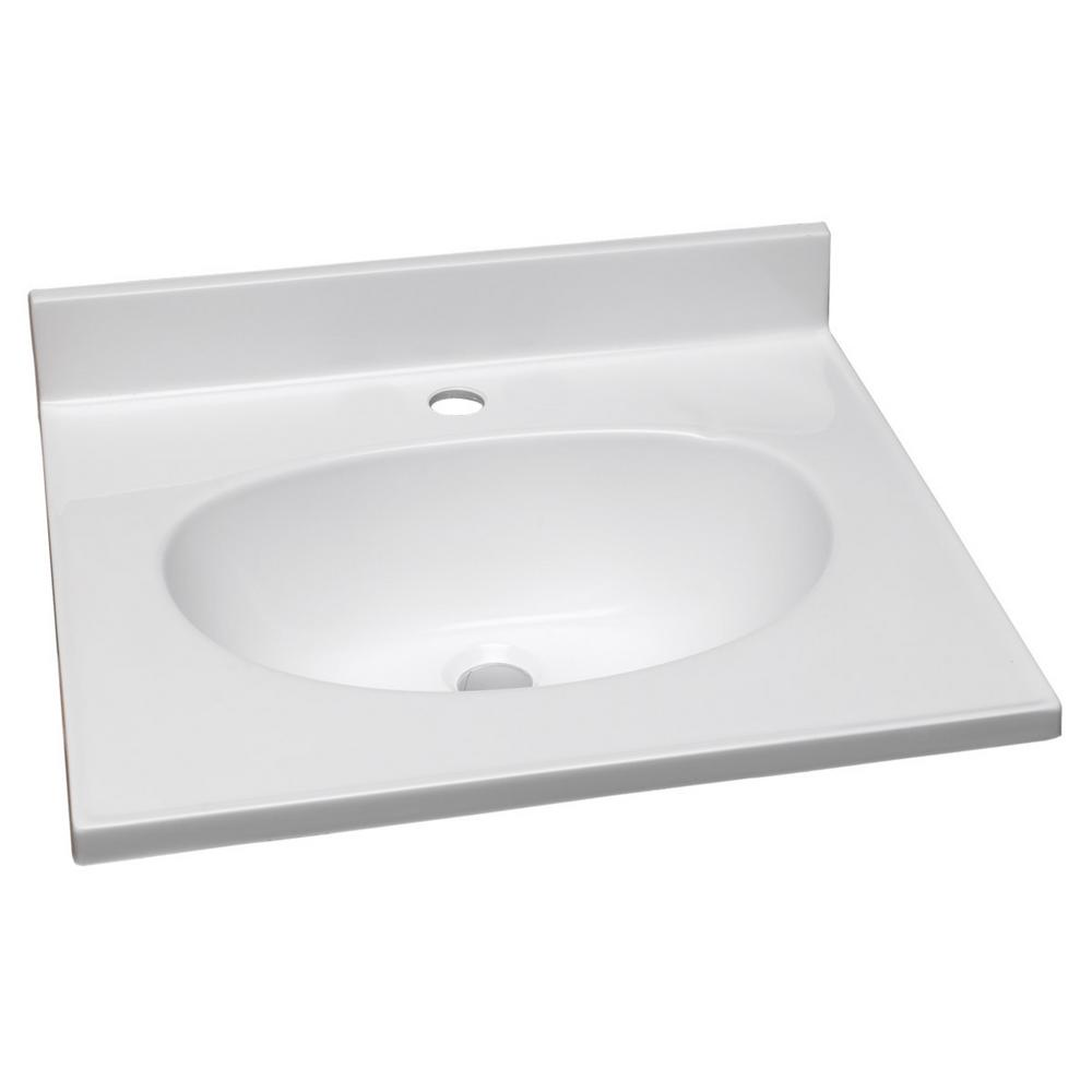 31 in. Single Faucet Hole Cultured Marble Vanity Top with Basin