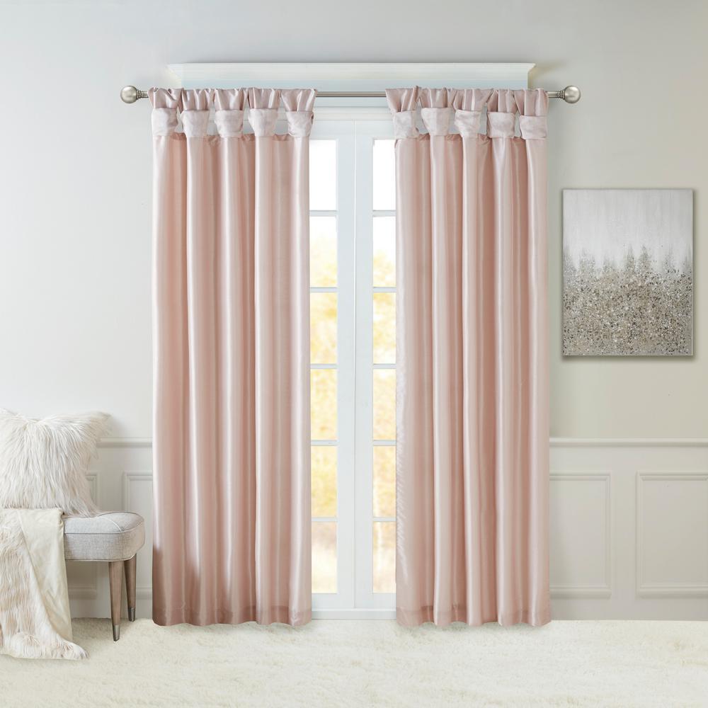 Natalie Blush Faux Fur Room Darkening Twist Tab Lined Window Curtain 50 in. W x 108 in. L