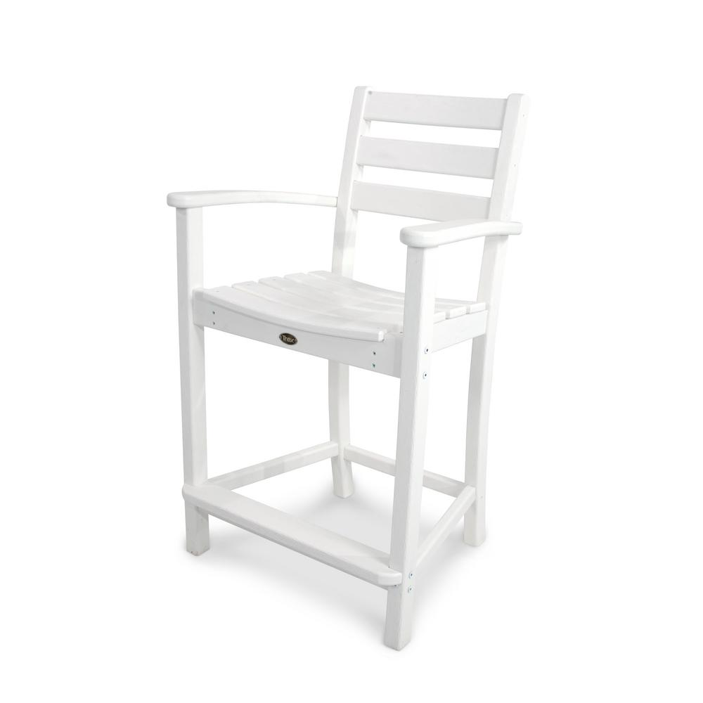 Monterey Bay Classic White Patio Counter Arm Chair