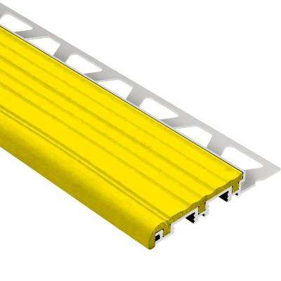 Trep-B Aluminum with Yellow Insert 9/16 in. x 8 ft. 2-1/2 in. Metal Stair Nose Tile Edging Trim