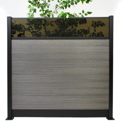 Euro Style 6 ft. H x 6 ft. W Acrylic Top Oxford Grey Aluminum/Composite Horizontal Fence Section Panel