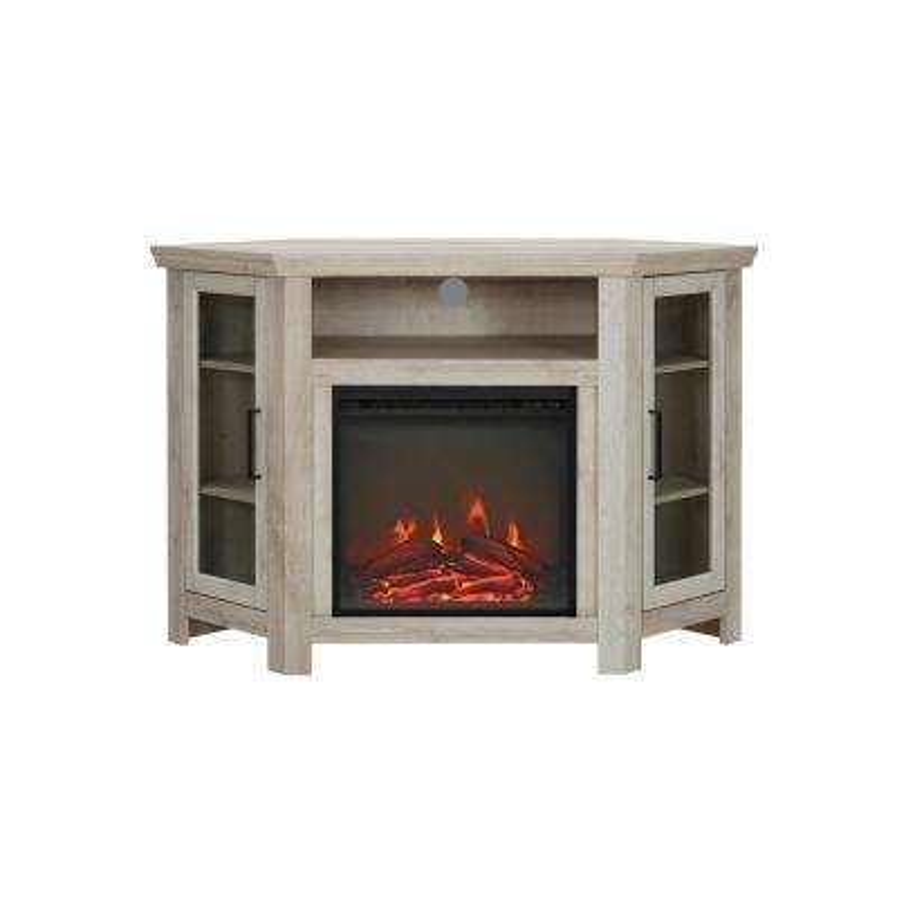 Beau White Oak Wood Corner Fireplace Media TV Stand Console