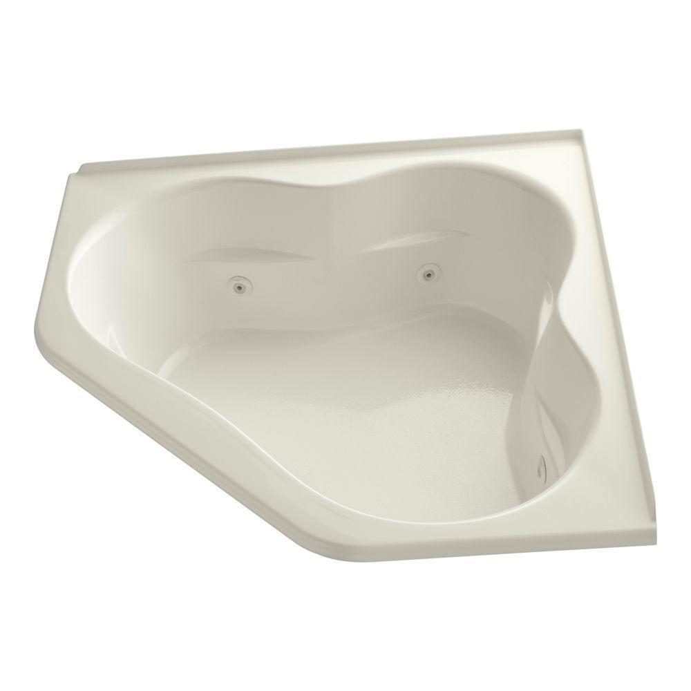 Tercet 5 ft. Acrylic Corner Drop-in Whirlpool Bathtub in Biscuit