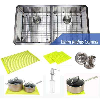 Undermount Stainless Steel 37 in. 50/50 Double Bowl Kitchen Sink Combo with Accessories