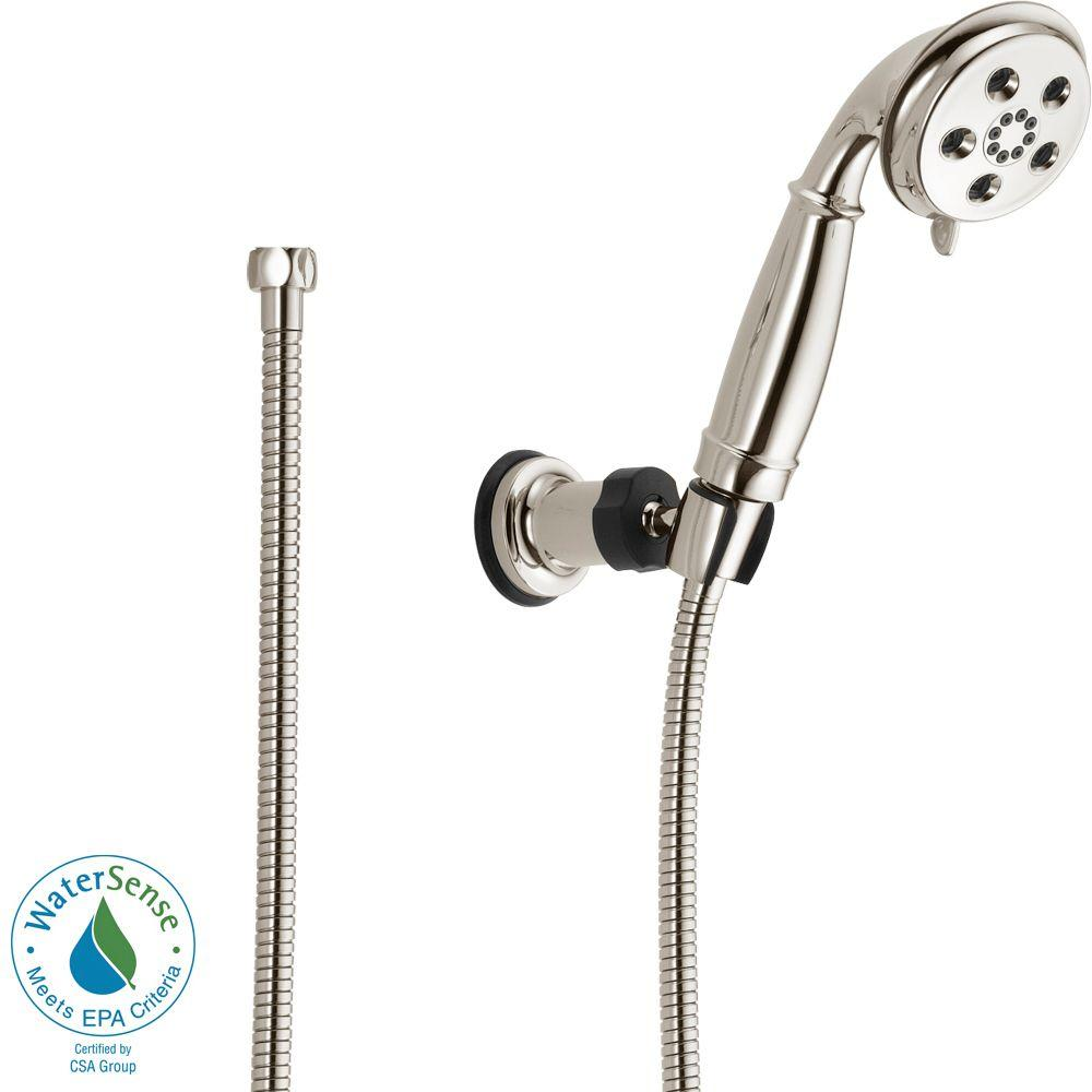 3-Spray 2.0 GPM Wall Mount Handshower in Polished Nickel featuring H2Okinetic