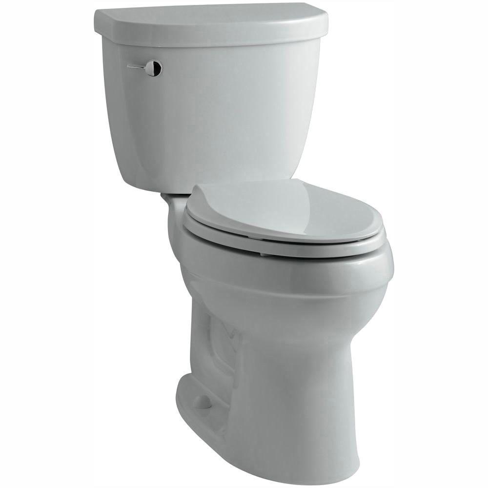 Cimarron 2-piece 1.28 GPF Single Flush High Efficiency Elongated Toilet with AquaPiston Flushing Technology in Ice Gray