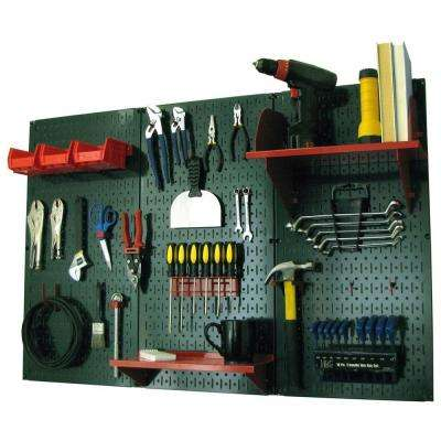 32 in. x 48 in. Metal Pegboard Standard Tool Storage Kit with Green Pegboard and Red Peg Accessories