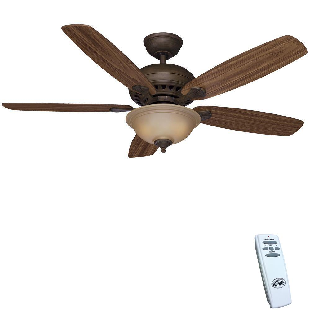 Hampton Bay Southwind 52 in. Indoor Venetian Bronze Ceiling Fan with Light Kit and Remote Control