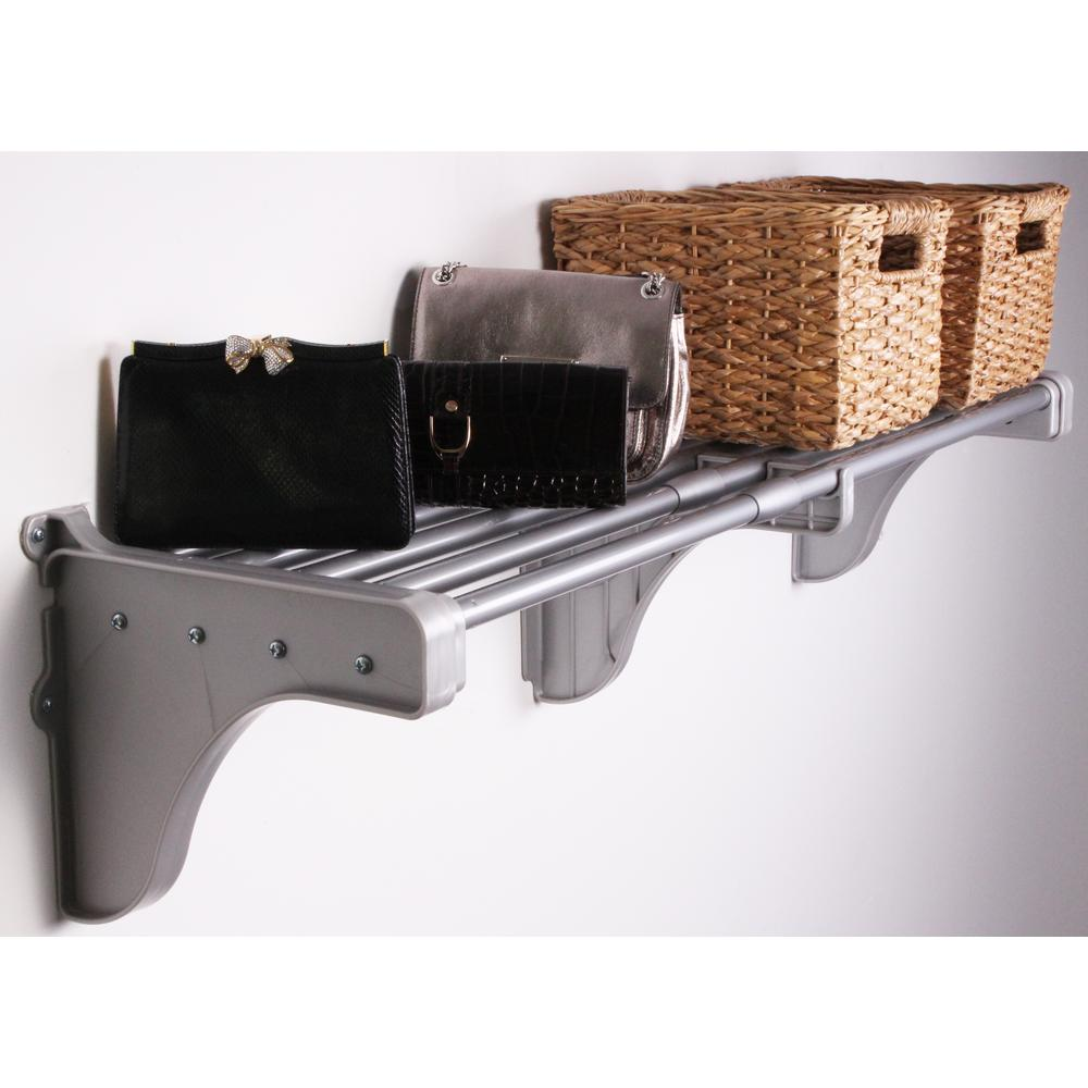 EZ Shelf 29 in. - 48 in. Small Shelf in Silver with 2 End Brackets (for mounting to back wall - no side walls needed)