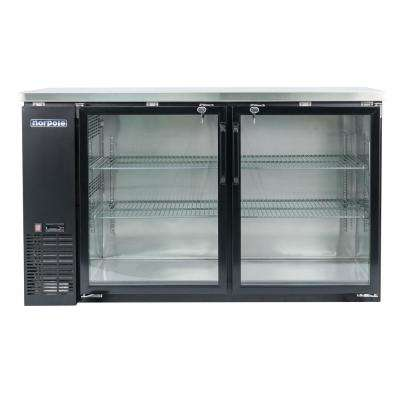 16 cu. ft. 2-Glass Door Under Bar Refrigerator, Black