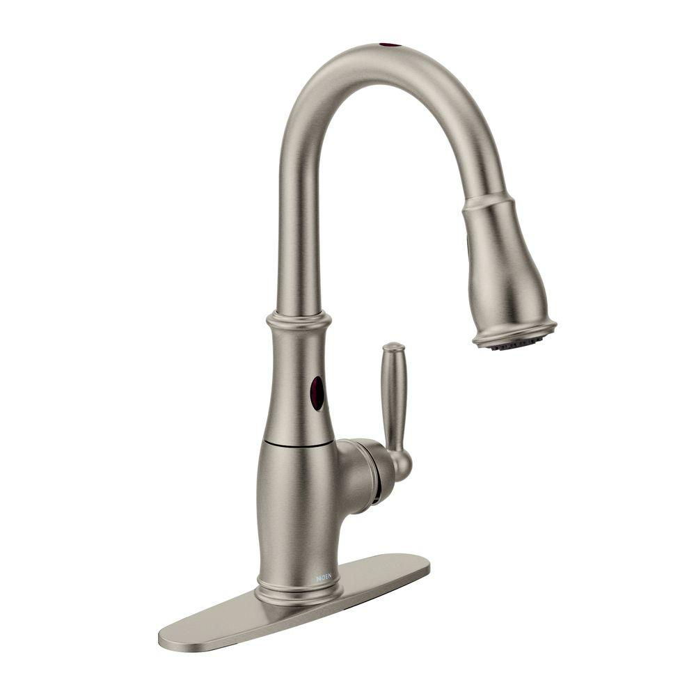 MOEN Brantford Single-Handle Pull-Down Sprayer Touchless Kitchen Faucet with MotionSense and Reflex in Spot Resist Stainless