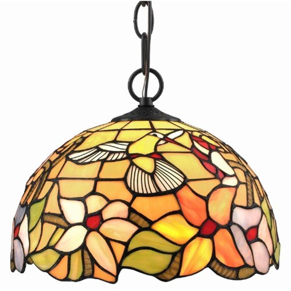 Tiffany Style Hummingbird Pendant