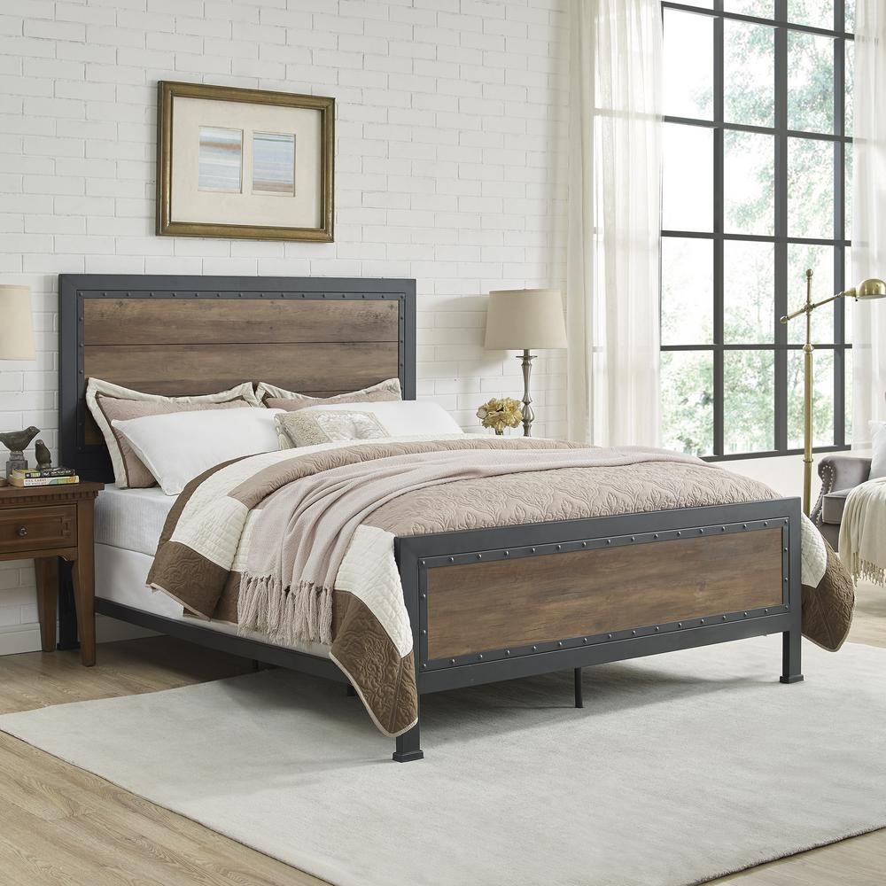 Beautiful Queen Size Rustic Oak Industrial Wood And Metal Bed
