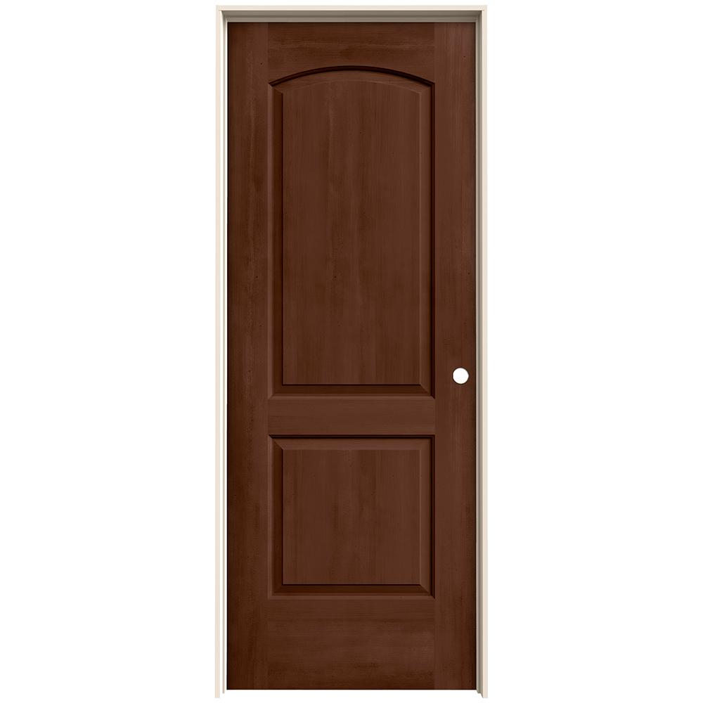 Jeld Wen 32 In X 80 In Continental Milk Chocolate Stain Left Hand Molded Composite Mdf Single