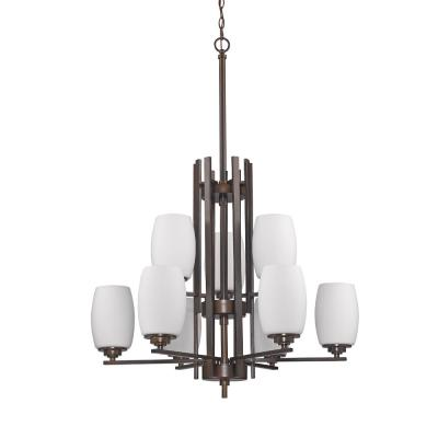 Sophia Indoor 9-Light Oil Rubbed Bronze Chandelier with Glass Shades
