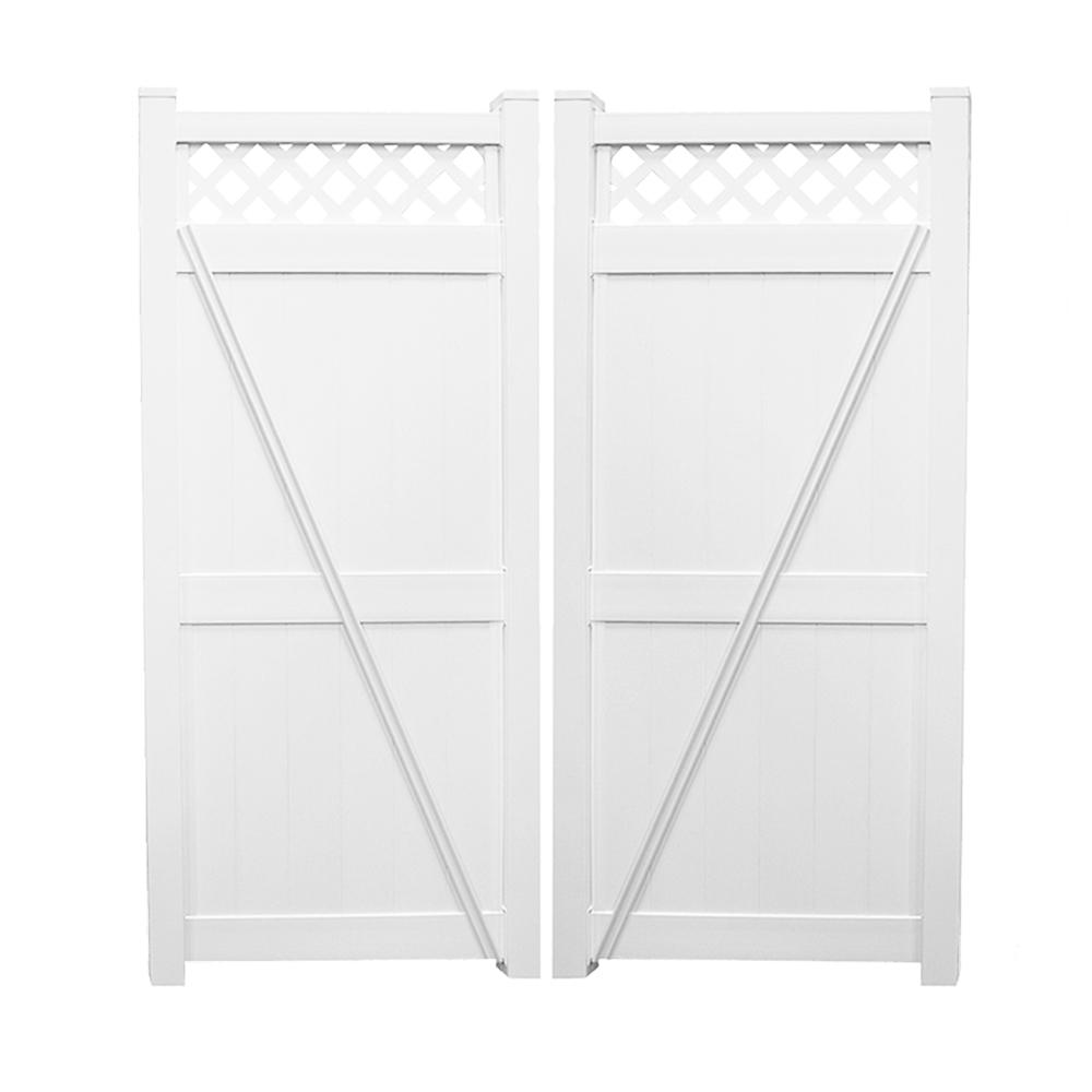 Ashton 7.4 ft. W x 8 ft. H White Vinyl Privacy