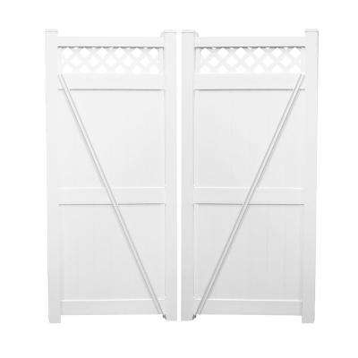Ashton 7.4 ft. W x 8 ft. H White Vinyl Privacy Fence Double Gate Kit