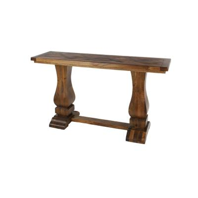 Rectangular Brown Parquet Wood Console Table with Pedestal Base