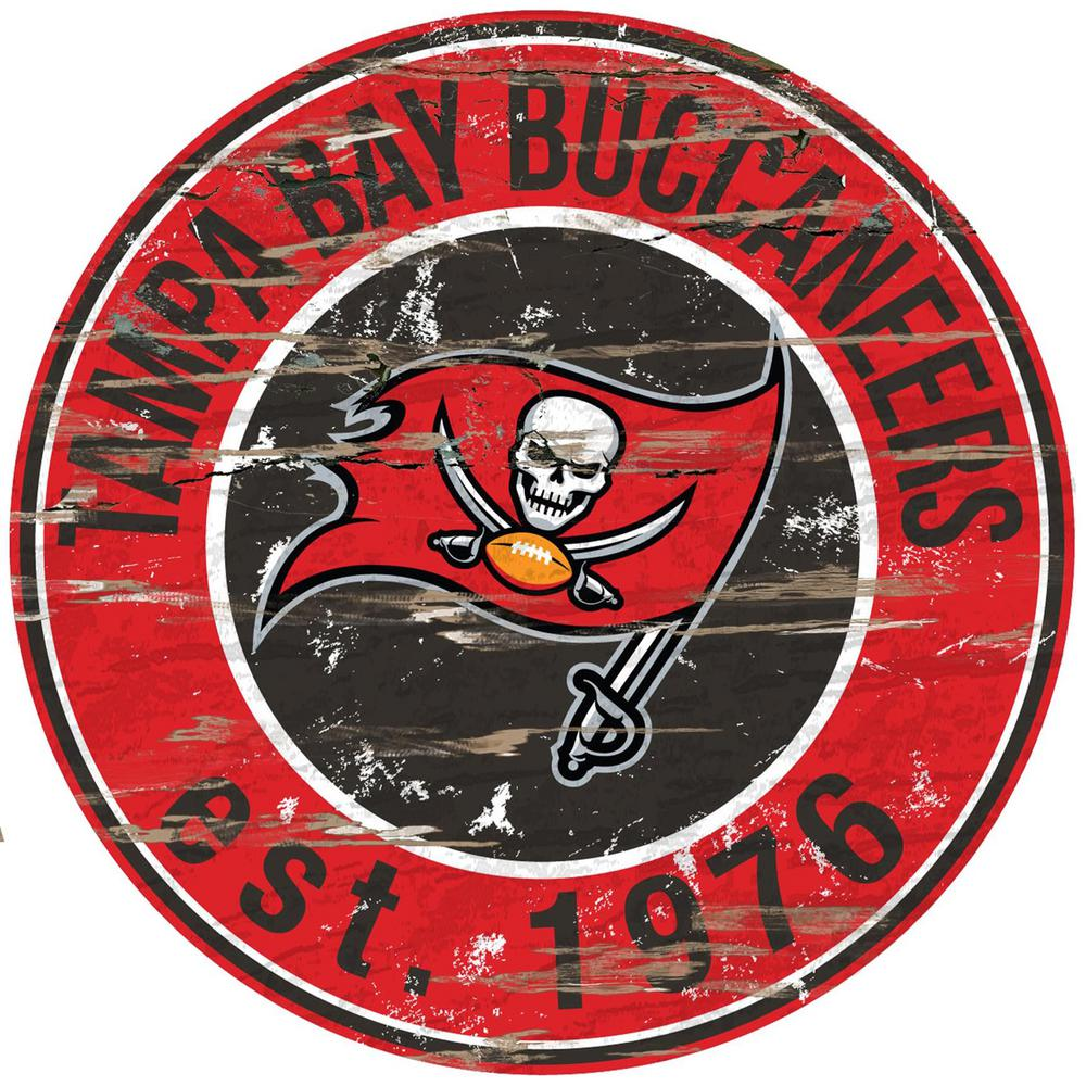 "24"" NFL Tampa Bay Buccaneers Round Distressed Sign"