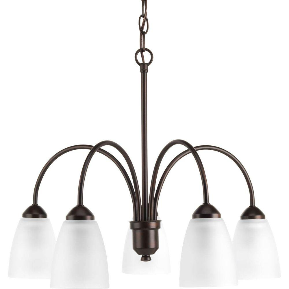 Gather Collection 5-Light Antique Bronze Chandelier with Shade with Etched Glass