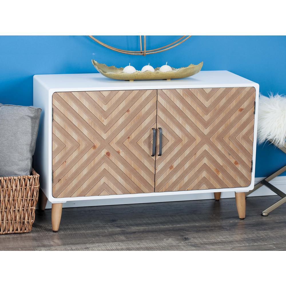 Wood And Metal Cabinet In Chevron Pattern