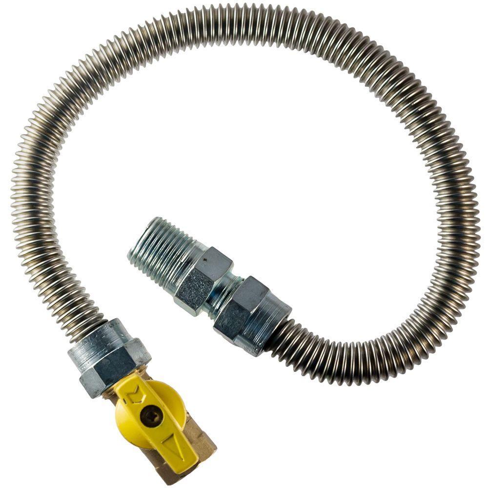 3/8 in. MIP x 1/2 in. FIP Gas Valve x 24 in. Dryer Connector 1/2 in. O.D.