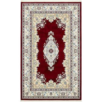 Tabriz Burgundy 5 ft. x 8 ft. Area Rug