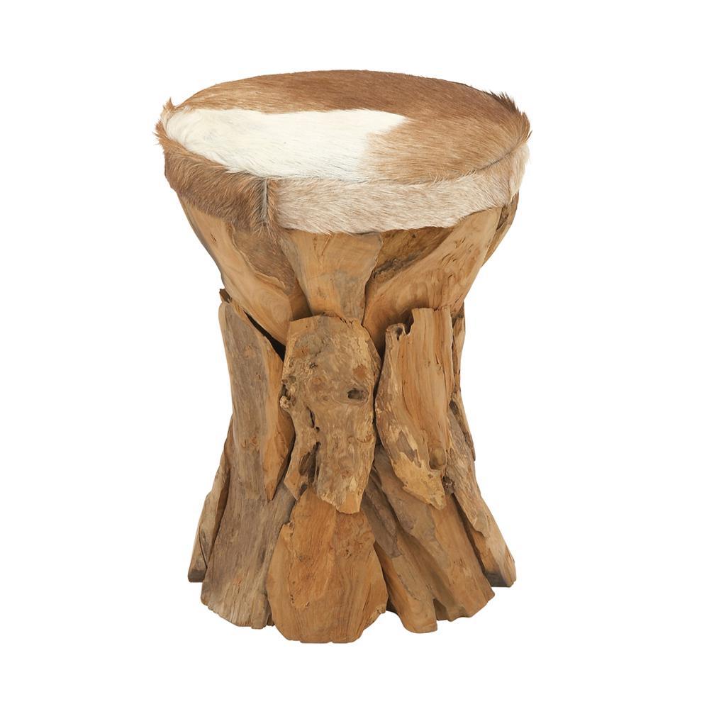 21 in. H x 14 in. W Natural Wood Brown Rustic Teak and Hide Fur Round Stool