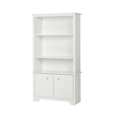 61.13 in. Pure White Faux Wood 3-shelf Standard Bookcase with Doors