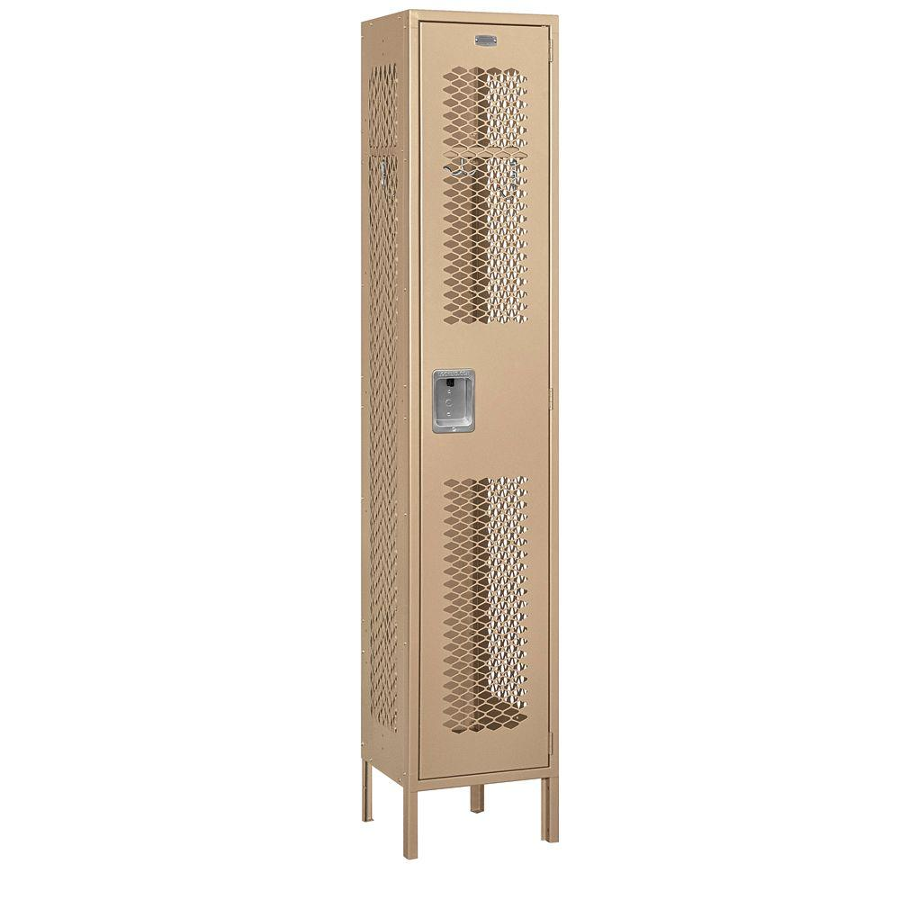 Salsbury Industries 81000 Series 15 in. W x 78 in. H x 15 in. D Single Tier Extra Wide Vented Metal Locker Unassembled in Tan