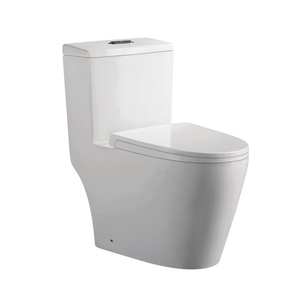 Danielle 1-Piece 0.8/1.2 GPF Dual Flush Elongated Toilet in White