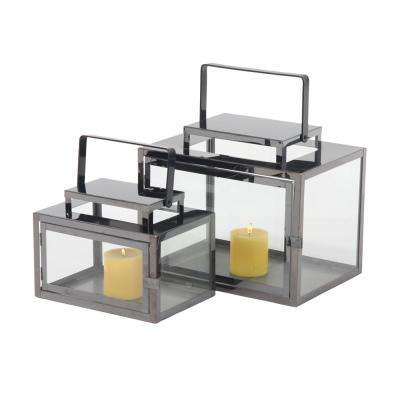 Silver Candle Tabletop Lanterns (Set of 2)