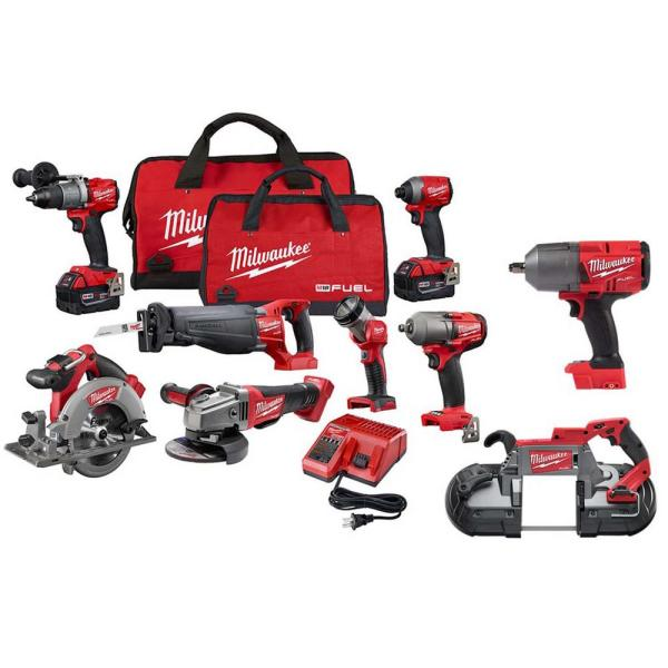 M18 FUEL 18-Volt Lithium-Ion Brushless Cordless Combo Kit (9-Tool) with (2) 5.0 Ah Batteries, (1) Charger, (2) Tool Bags