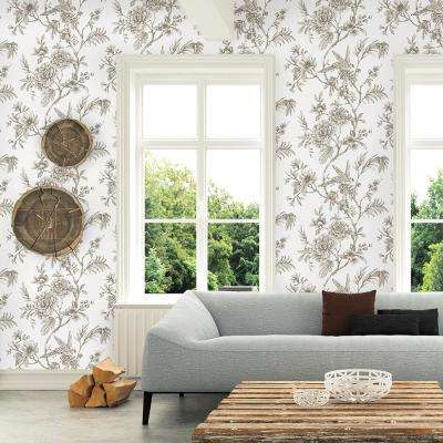 56.4 sq. ft. Jessamine Taupe Floral Trail Wallpaper