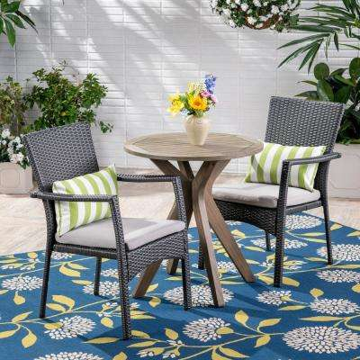 Kent Gray 3-Piece Wood and Wicker Outdoor Bistro Set with Gray Cushions