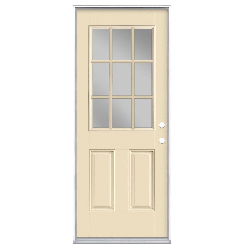 32 in. x 80 in. 9 Lite Golden Haystack Left Hand Inswing Painted Smooth Fiberglass Prehung Front Door with No Brickmold