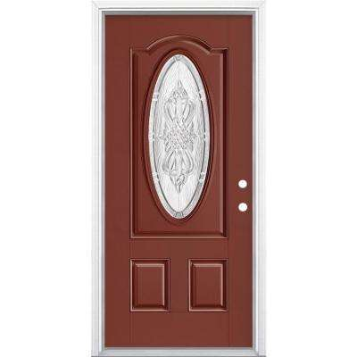 36 in. x 80 in. New Haven 3/4 Oval Left Hand Inswing Painted Smooth Fiberglass Prehung Front Exterior Door w/ Brickmold