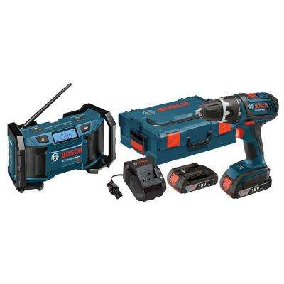 18-Volt Lithium-Ion Cordless 1/2 in. Compact Drill/Driver and Jobsite Radio Power Tool Combo Kit (2-Tool)