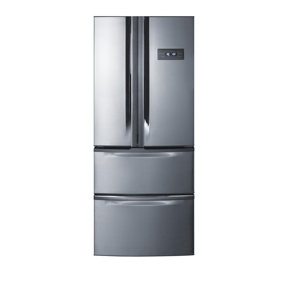 Summit Appliance 27 in. W 13.7 cu. ft. French Door Refrigerator in Stainless Steel, Counter Depth