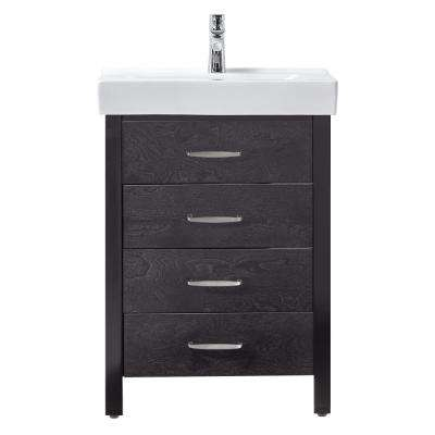 Cedarton 24 in. W x 18 in. D Bath Vanity in Espresso with Vitreous China Vanity Top in White and Sink