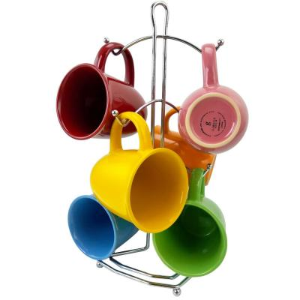 Color Curve 12 oz. Assorted Colors Stoneware Mugs (Set of 6)