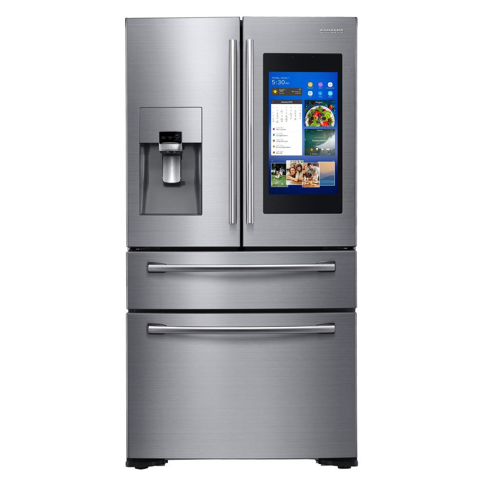 samsung 21 9 cu ft family hub 4 door french door smart refrigerator in stainless steel. Black Bedroom Furniture Sets. Home Design Ideas