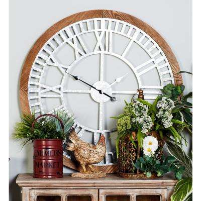 Multi-Colored Contemporary Analog Wall Clock with a Wooden Frame