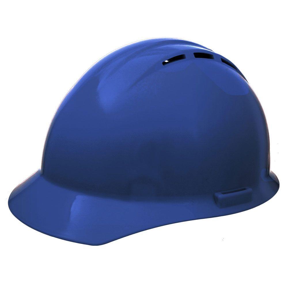 Americana Vent 4 Point Nylon Suspension Mega Ratchet Cap Hard Hat in Blue